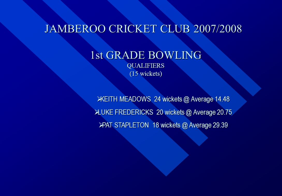 JAMBEROO CRICKET CLUB 2007/2008 1st GRADE BOWLING QUALIFIERS (15 wickets)  KEITH  KEITH MEADOWS 24 wickets @ Average 14.48  LUKE  LUKE FREDERICKS 20 wickets @ Average 20.75  PAT  PAT STAPLETON 18 wickets @ Average 29.39