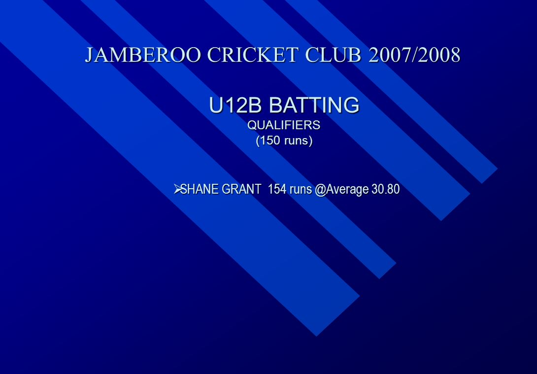 JAMBEROO CRICKET CLUB 2007/2008 U12B BATTING QUALIFIERS (150 runs)  SHANE  SHANE GRANT 154 runs @Average 30.80