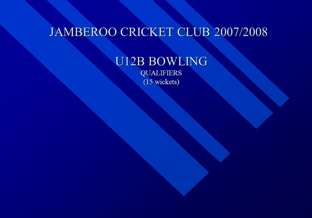 JAMBEROO CRICKET CLUB 2007/2008 U12B BOWLING QUALIFIERS (15 wickets)
