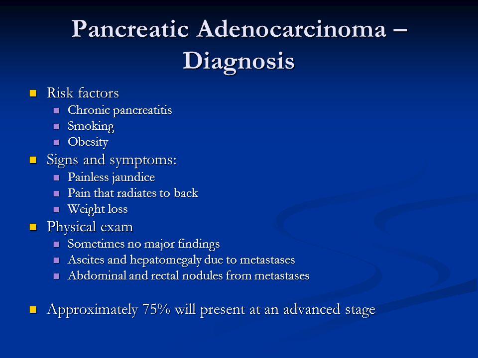 Pancreatic Adenocarcinoma – Diagnosis Risk factors Risk factors Chronic pancreatitis Chronic pancreatitis Smoking Smoking Obesity Obesity Signs and sy