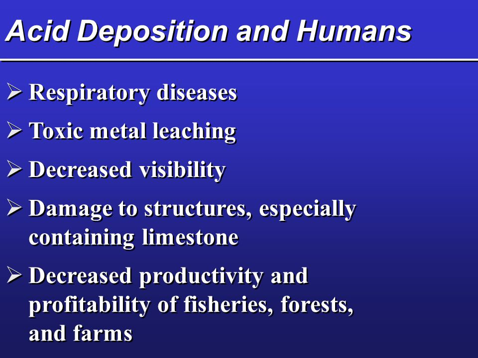 Acid Deposition and Humans  Respiratory diseases  Toxic metal leaching  Decreased visibility  Damage to structures, especially containing limestone  Decreased productivity and profitability of fisheries, forests, and farms