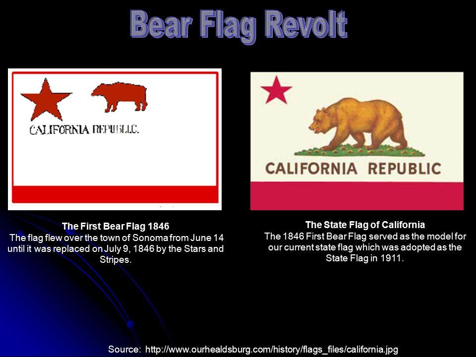 C. California 1. American settlers led the Bear Flag Revolt against California. 2. U.S. Army explorer John C. Frémont encouraged Americans to join the