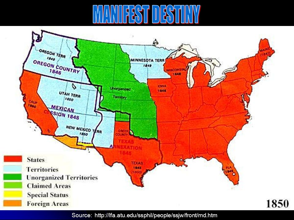 I. The Roots of Manifest Destiny A. Manifest Destiny – the belief that nothing would stop the United States from expanding to the Pacific Ocean B. Ter