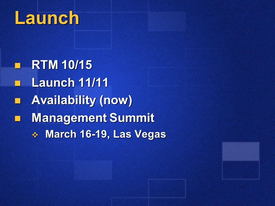 Launch RTM 10/15 RTM 10/15 Launch 11/11 Launch 11/11 Availability (now) Availability (now) Management Summit Management Summit  March 16-19, Las Vegas