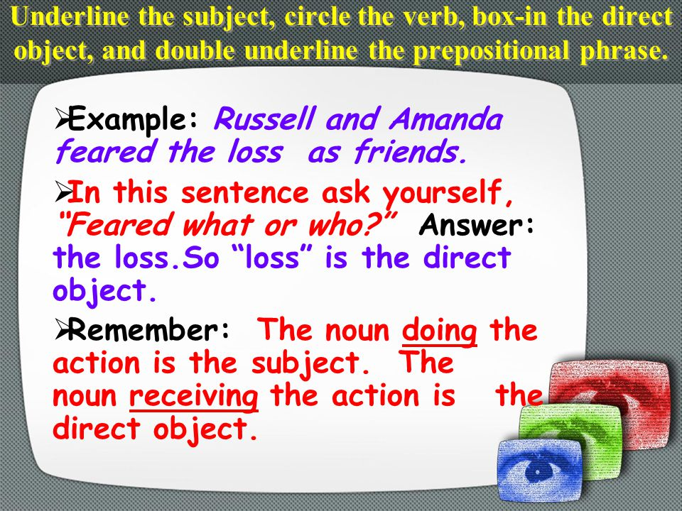  Example: Russell and Amanda feared the loss as friends.