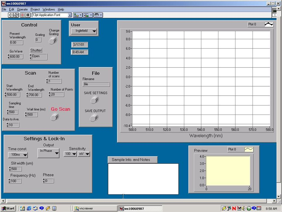 Computer Program  A specific program is required to acquire and process the data  Lab View provides a Graphical User Interface (GUI) to write such a program  Result is a Virtual Instrument