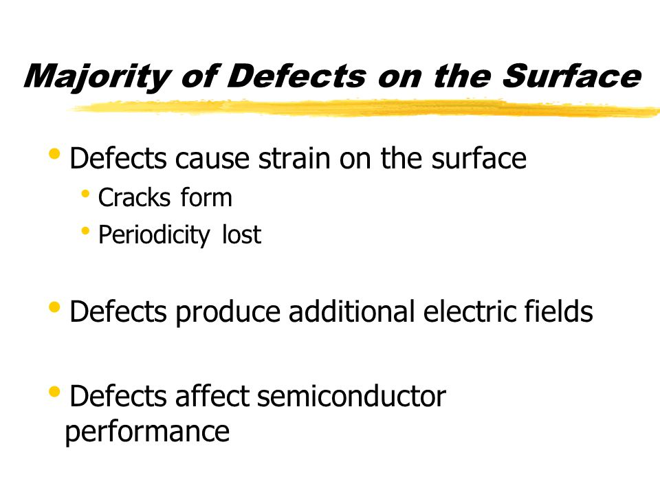 Defects in Semiconductors  Point Defects  Vacancy  Interstitial  Substitutional Impurity  Interstitial Impurity