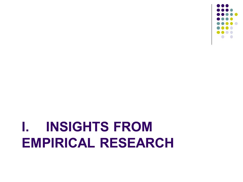 I.INSIGHTS FROM EMPIRICAL RESEARCH