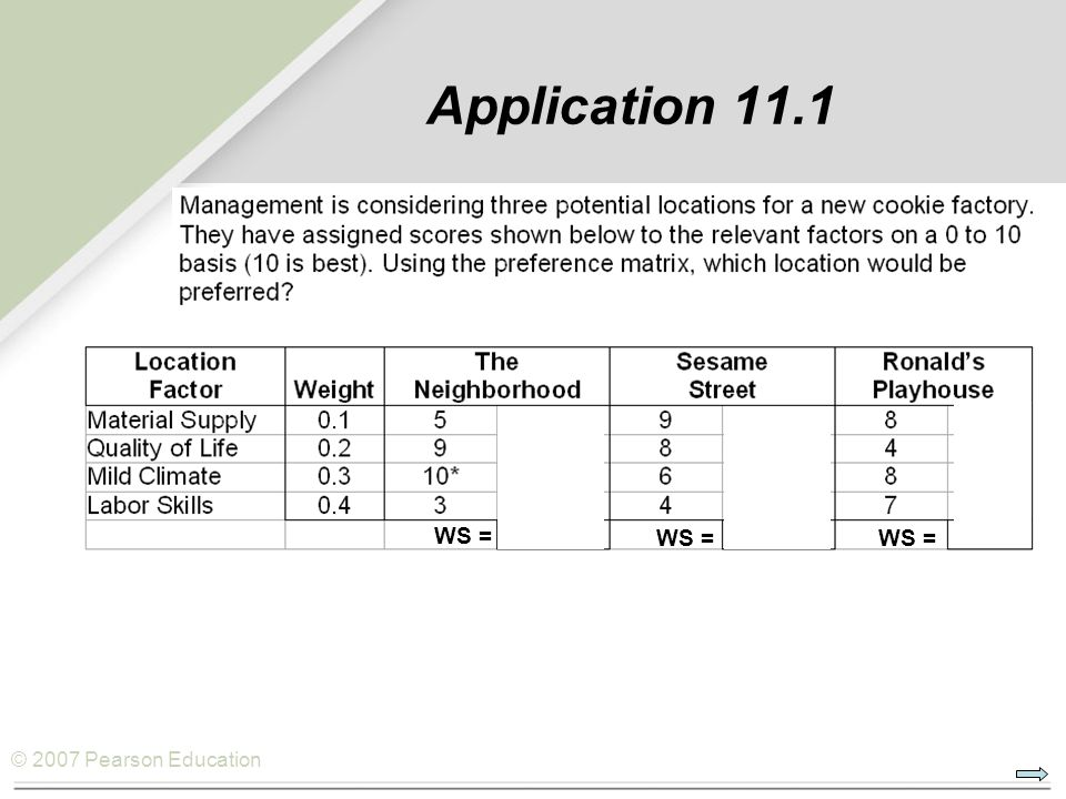 © 2007 Pearson Education Application 11.1 WS =
