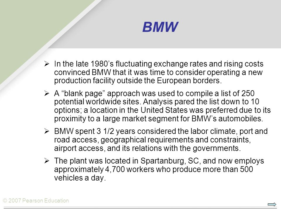 © 2007 Pearson Education BMW  In the late 1980's fluctuating exchange rates and rising costs convinced BMW that it was time to consider operating a new production facility outside the European borders.