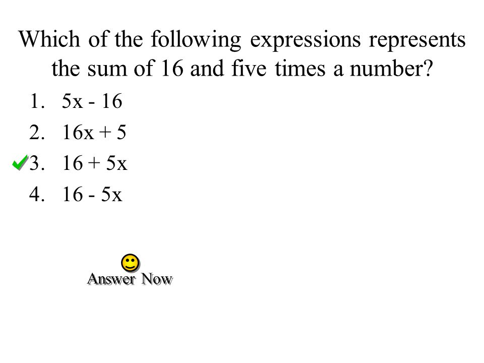Which of the following expressions represents the sum of 16 and five times a number.