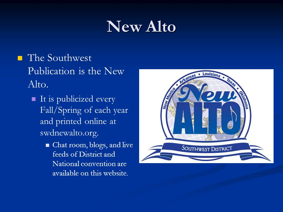 New Alto The Southwest Publication is the New Alto.
