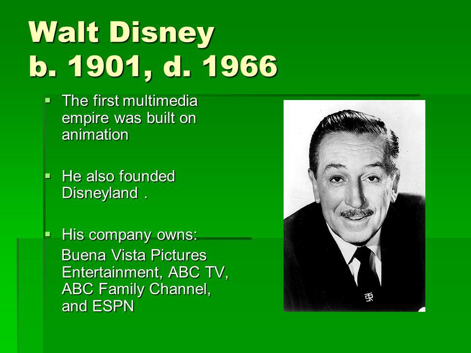 Walt Disney b. 1901, d.
