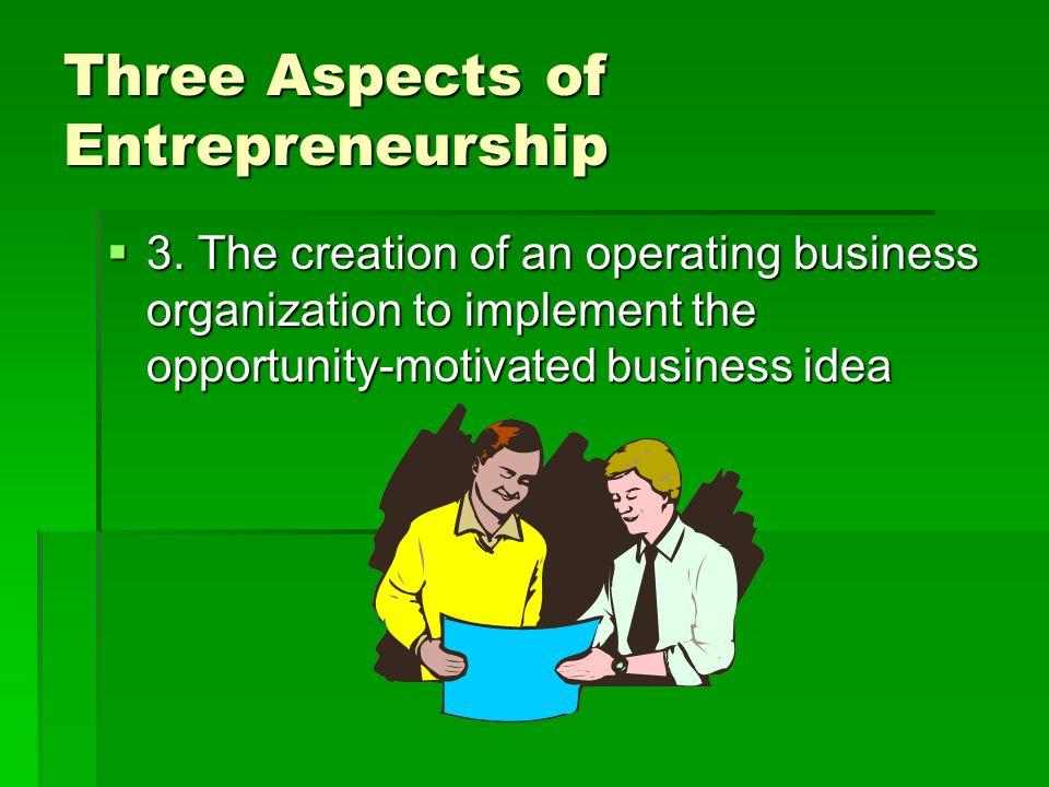Three Aspects of Entrepreneurship  3.