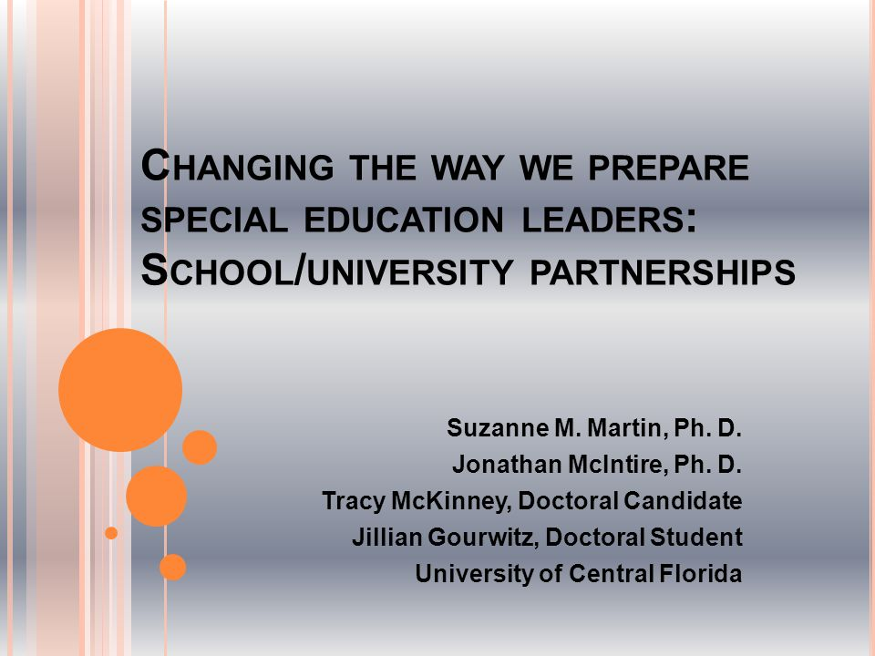 C HANGING THE WAY WE PREPARE SPECIAL EDUCATION LEADERS : S CHOOL / UNIVERSITY PARTNERSHIPS Suzanne M.
