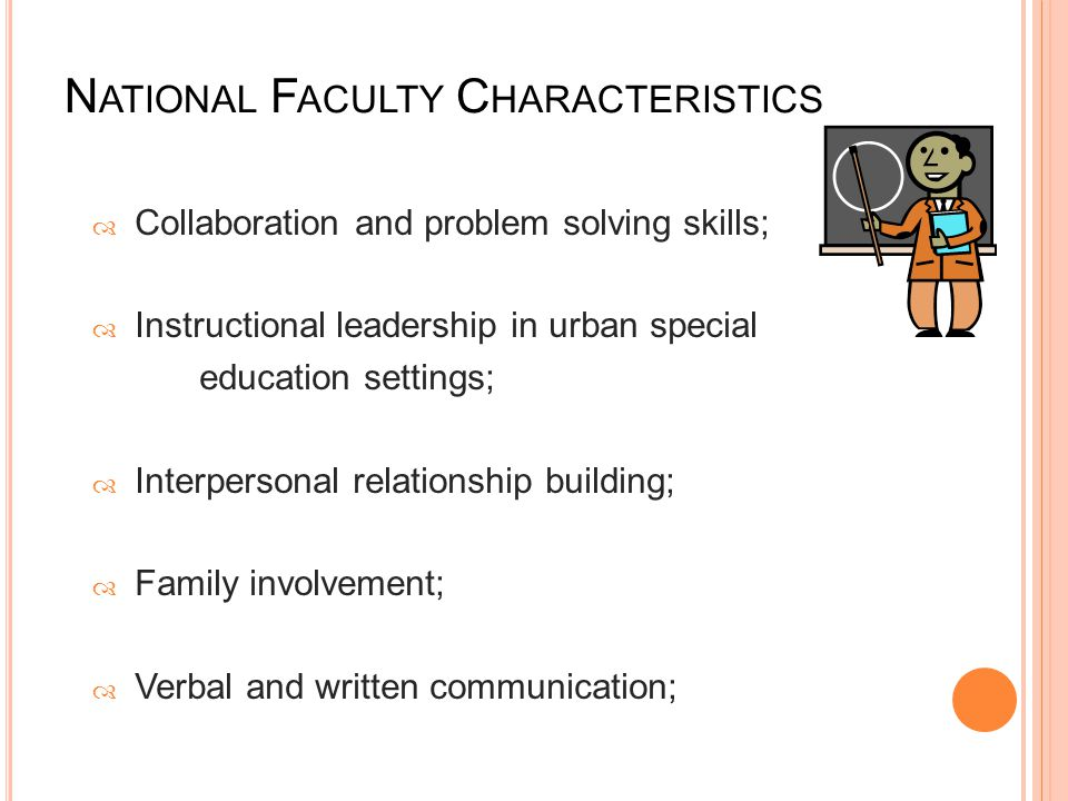 N ATIONAL F ACULTY C HARACTERISTICS  Collaboration and problem solving skills;  Instructional leadership in urban special education settings;  Interpersonal relationship building;  Family involvement;  Verbal and written communication;