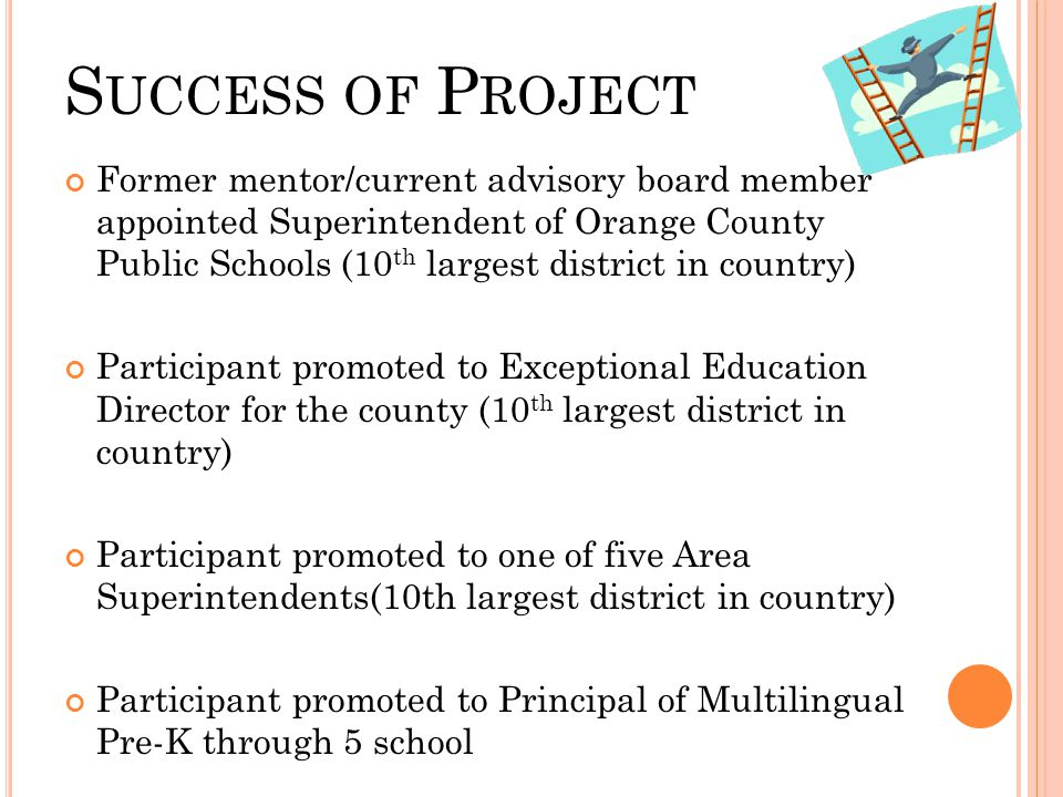 S UCCESS OF P ROJECT Former mentor/current advisory board member appointed Superintendent of Orange County Public Schools (10 th largest district in country) Participant promoted to Exceptional Education Director for the county (10 th largest district in country) Participant promoted to one of five Area Superintendents(10th largest district in country) Participant promoted to Principal of Multilingual Pre-K through 5 school