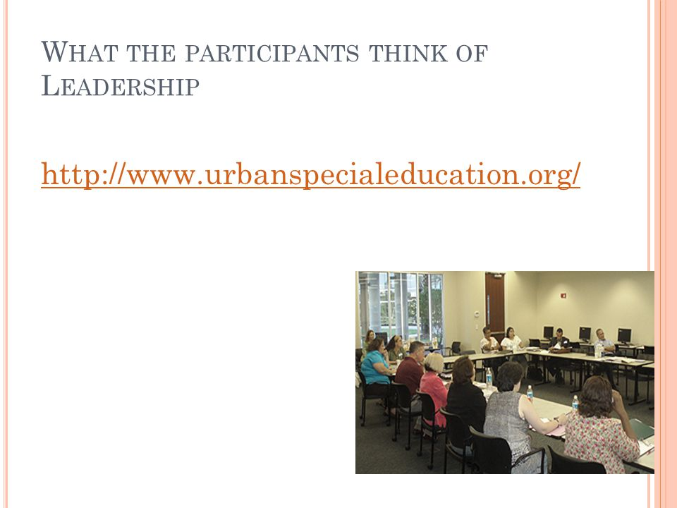 W HAT THE PARTICIPANTS THINK OF L EADERSHIP http://www.urbanspecialeducation.org/