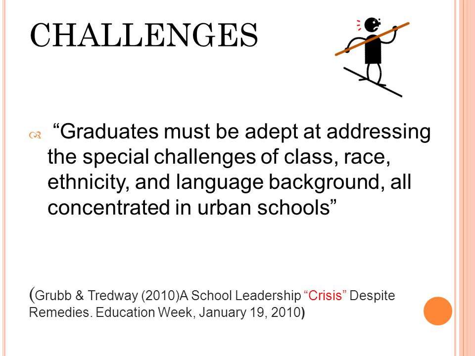"""CHALLENGES  """"Graduates must be adept at addressing the special challenges of class, race, ethnicity, and language background, all concentrated in urb"""
