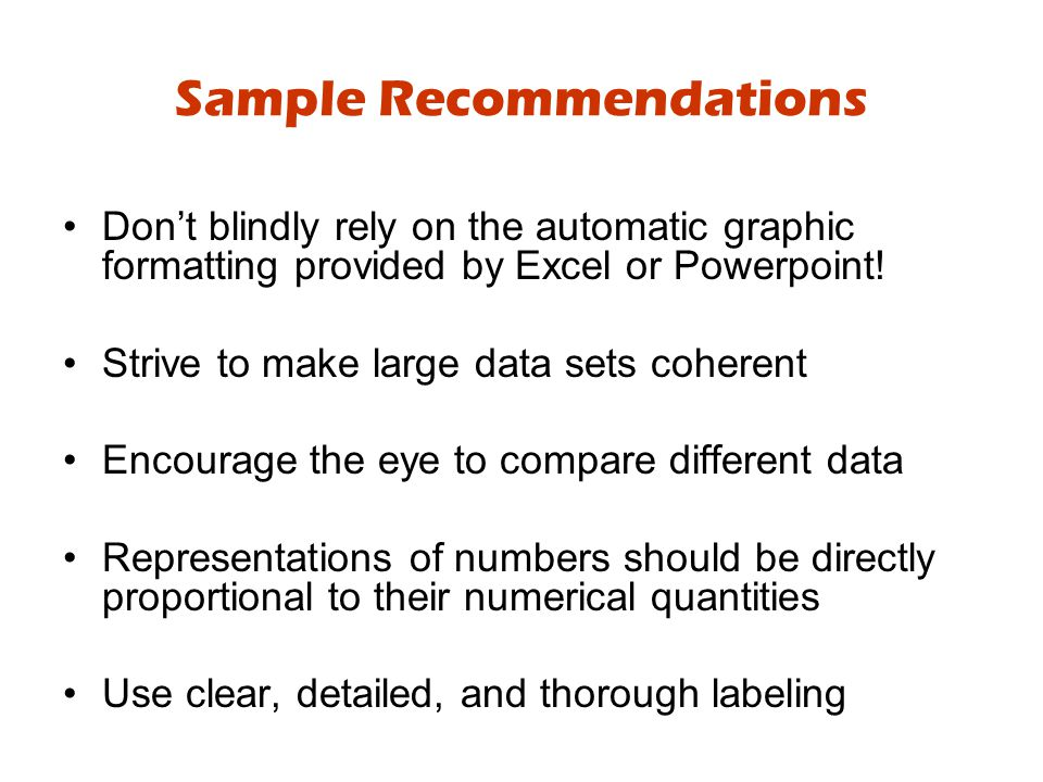 Sample Recommendations Don't blindly rely on the automatic graphic formatting provided by Excel or Powerpoint.