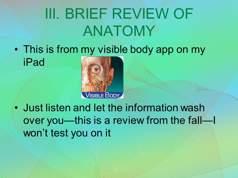 III. BRIEF REVIEW OF ANATOMY This is from my visible body app on my iPad Just listen and let the information wash over you—this is a review from the f