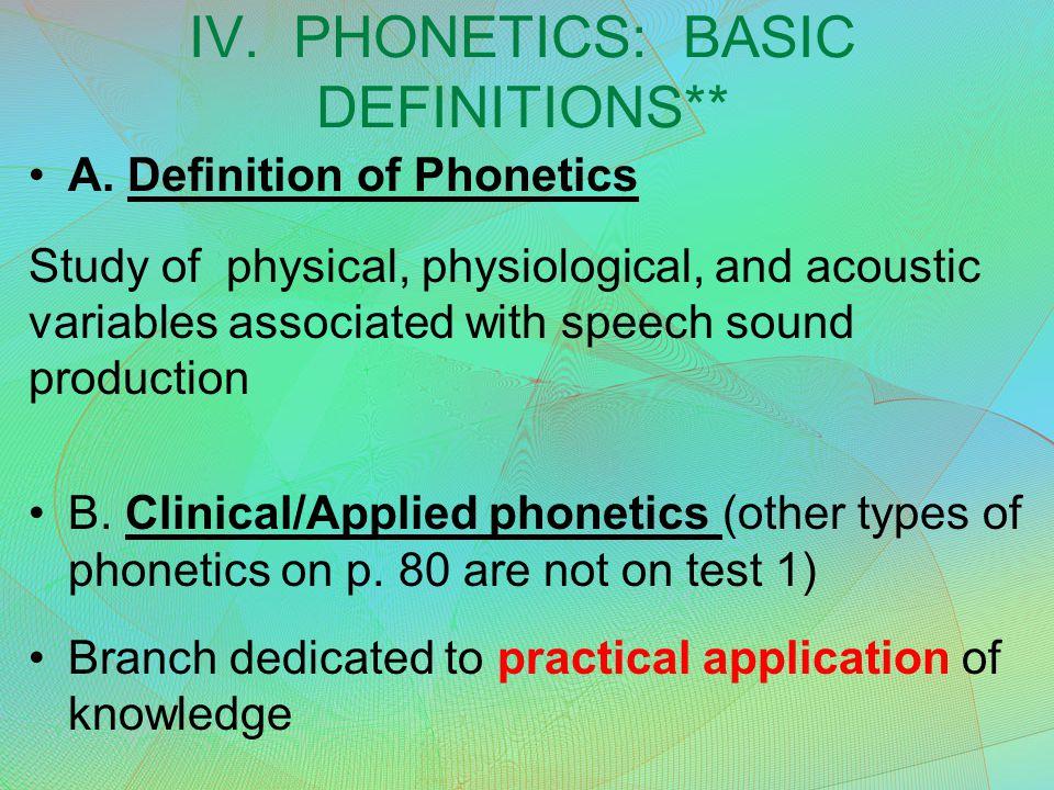 IV. PHONETICS: BASIC DEFINITIONS** A.