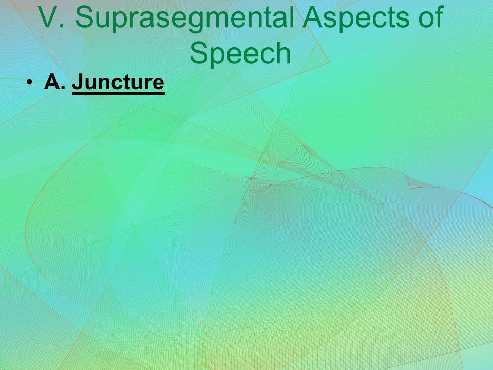 V. Suprasegmental Aspects of Speech A. Juncture