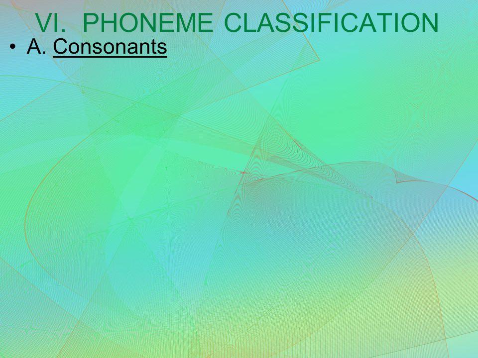 VI. PHONEME CLASSIFICATION A. Consonants