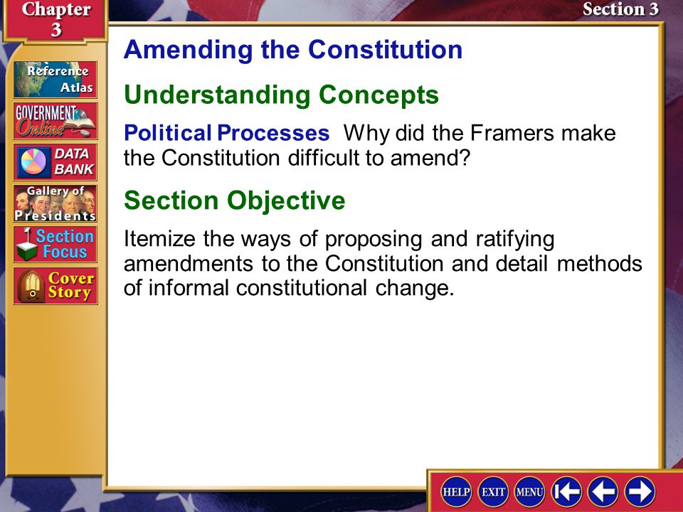 Section 3-11 A.Political parties are an example of customs that have informally changed the Constitution.