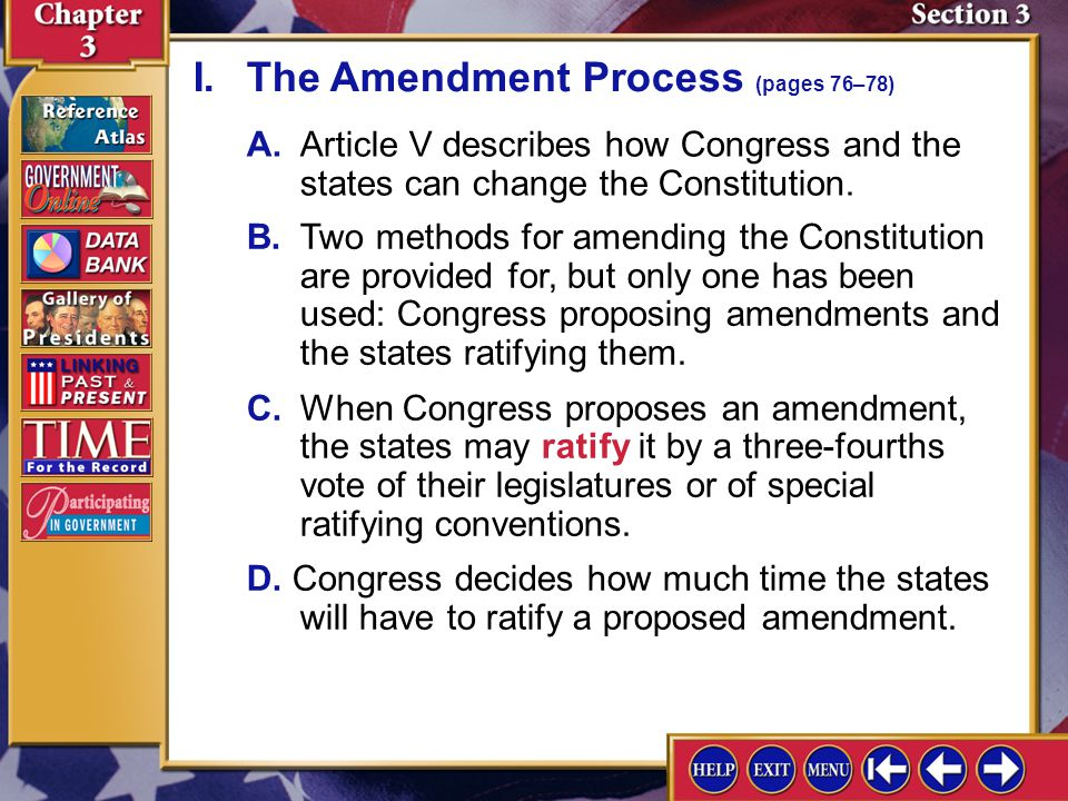Section 3-3 I.The Amendment Process (pages 76–78)