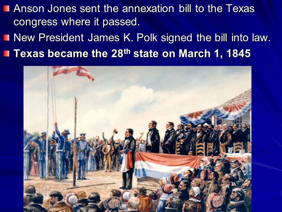 The U.S.grew slowly until the Annexation of Texas in 1845 picked up the pace.