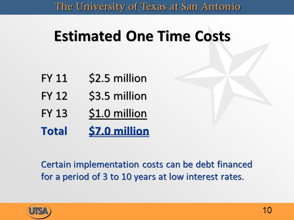 Estimated One Time Costs FY 11$2.5 million FY 12$3.5 million FY 13$1.0 million Total$7.0 million Certain implementation costs can be debt financed for a period of 3 to 10 years at low interest rates.