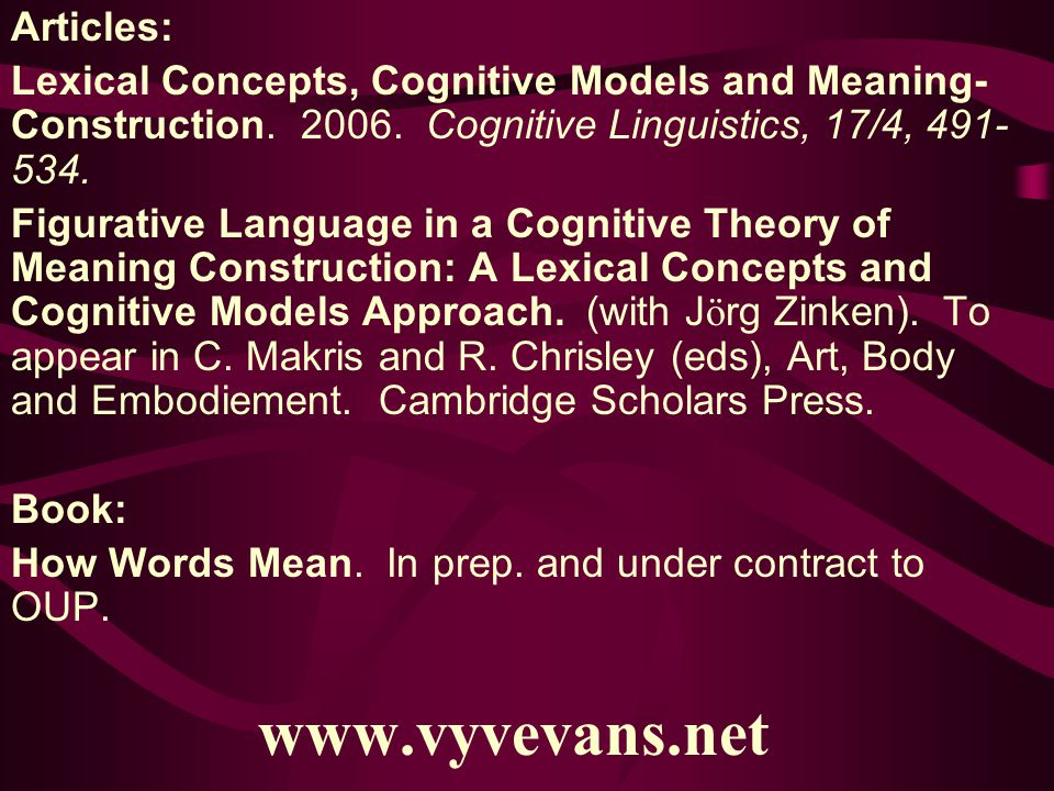 Articles: Lexical Concepts, Cognitive Models and Meaning- Construction.