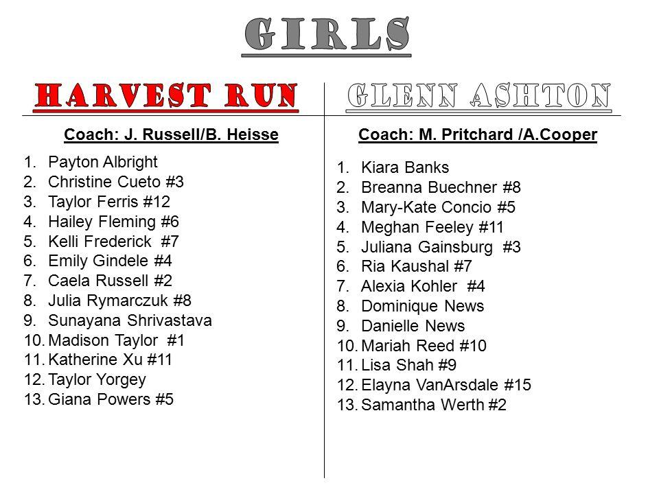 Coach: J. Russell/B. Heisse 1.Payton Albright 2.Christine Cueto #3 3.Taylor Ferris #12 4.Hailey Fleming #6 5.Kelli Frederick #7 6.Emily Gindele #4 7.C