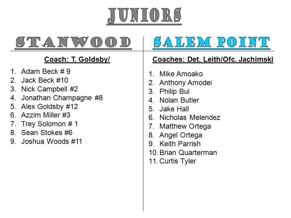Coach: T. Goldsby/ 1.Adam Beck # 9 2.Jack Beck #10 3.Nick Campbell #2 4.Jonathan Champagne #8 5.Alex Goldsby #12 6.Azzim Miller #3 7.Trey Solomon # 1