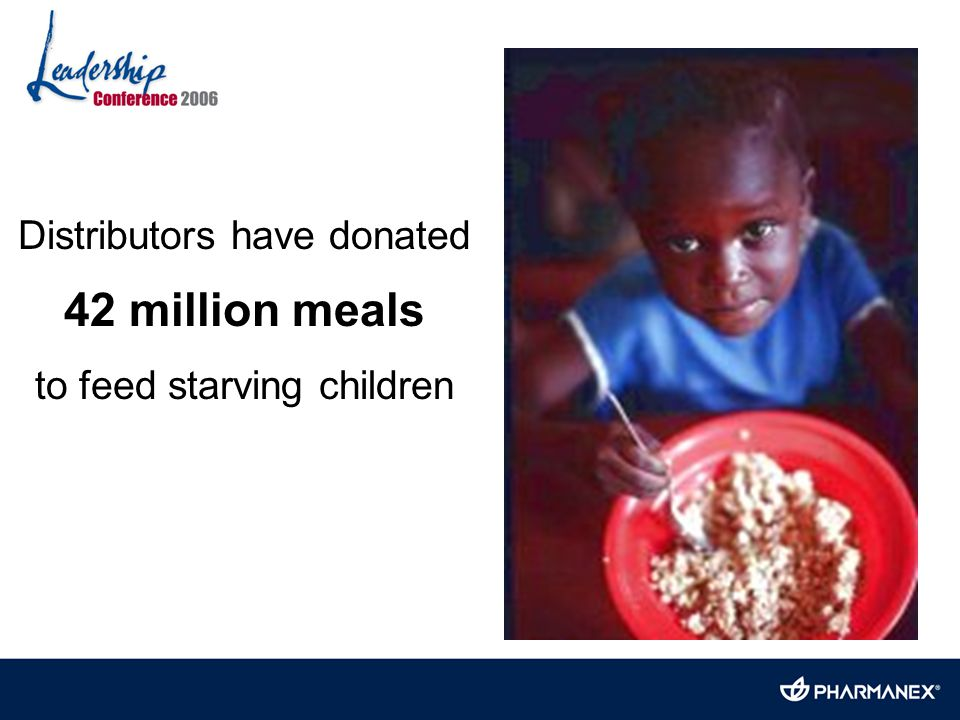 Distributors have donated 42 million meals to feed starving children