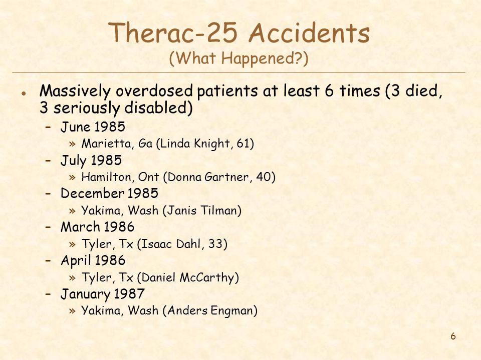 6 Therac-25 Accidents (What Happened?) l Massively overdosed patients at least 6 times (3 died, 3 seriously disabled) –June 1985 »Marietta, Ga (Linda Knight, 61) –July 1985 »Hamilton, Ont (Donna Gartner, 40) –December 1985 »Yakima, Wash (Janis Tilman) –March 1986 »Tyler, Tx (Isaac Dahl, 33) –April 1986 »Tyler, Tx (Daniel McCarthy) –January 1987 »Yakima, Wash (Anders Engman)