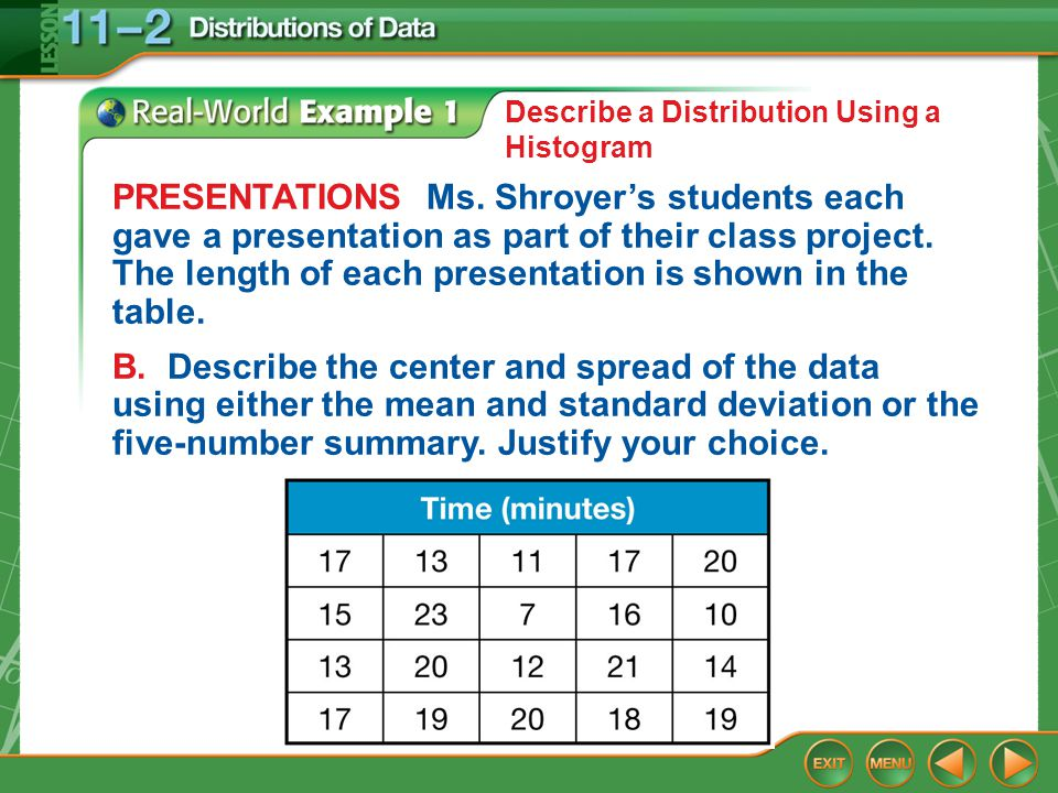 Example 1 Describe a Distribution Using a Histogram PRESENTATIONS Ms. Shroyer's students each gave a presentation as part of their class project. The