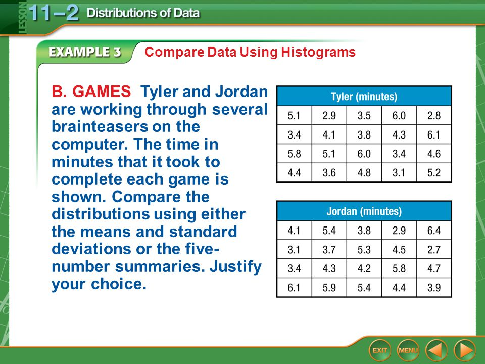 Example 3 Compare Data Using Histograms B. GAMES Tyler and Jordan are working through several brainteasers on the computer. The time in minutes that i