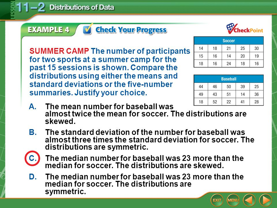 Example 4 SUMMER CAMP The number of participants for two sports at a summer camp for the past 15 sessions is shown. Compare the distributions using ei