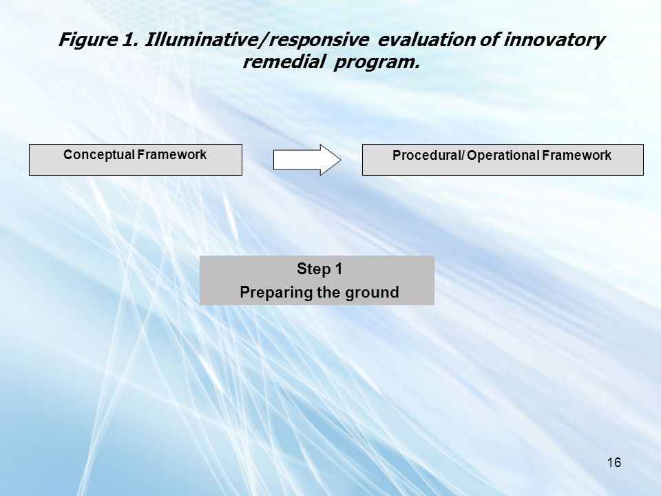 16 Figure 1. Illuminative/responsive evaluation of innovatory remedial program. Conceptual Framework Procedural/ Operational Framework Step 1 Preparin