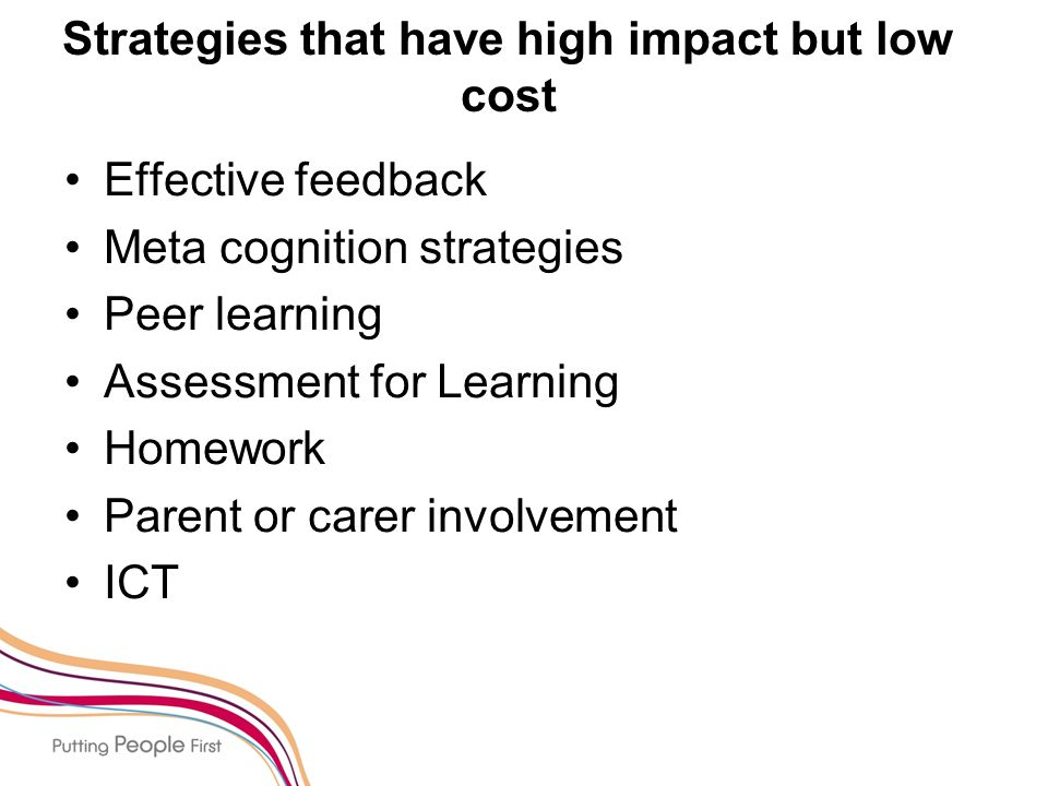Strategies that have high impact but low cost Effective feedback Meta cognition strategies Peer learning Assessment for Learning Homework Parent or carer involvement ICT