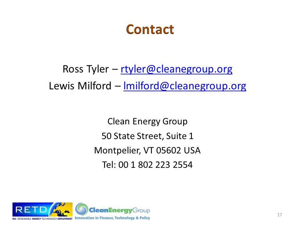 Ross Tyler – rtyler@cleanegroup.orgrtyler@cleanegroup.org Lewis Milford – lmilford@cleanegroup.orglmilford@cleanegroup.org Clean Energy Group 50 State Street, Suite 1 Montpelier, VT 05602 USA Tel: 00 1 802 223 2554 17