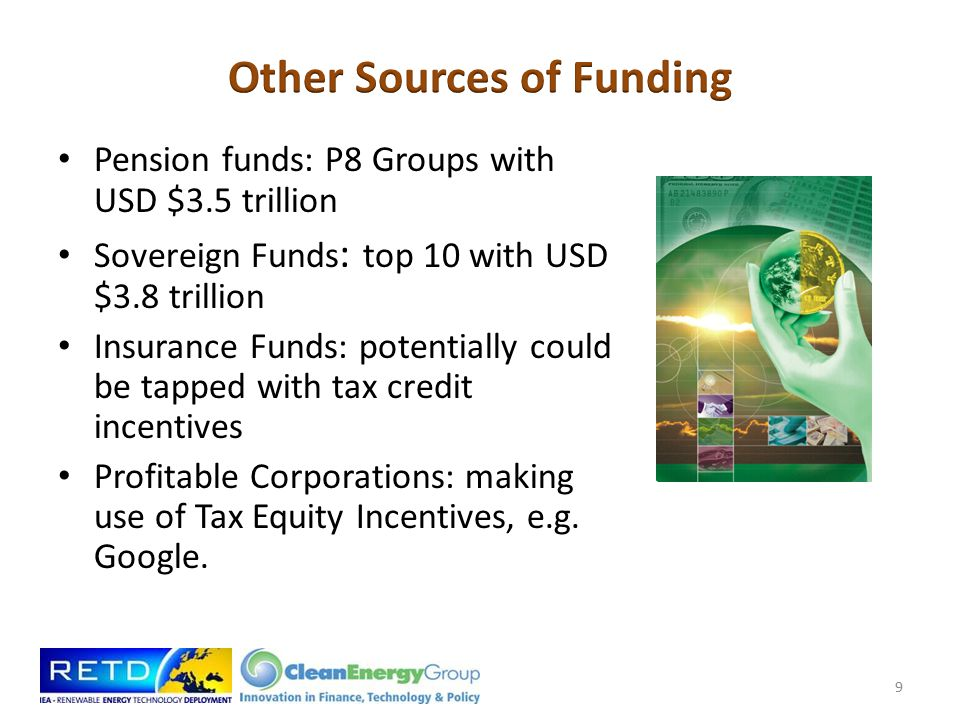 Pension funds: P8 Groups with USD $3.5 trillion Sovereign Funds : top 10 with USD $3.8 trillion Insurance Funds: potentially could be tapped with tax credit incentives Profitable Corporations: making use of Tax Equity Incentives, e.g.