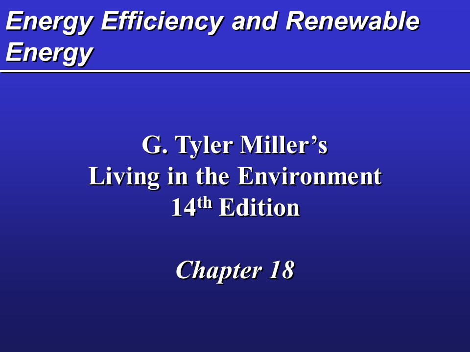 Energy Efficiency and Renewable Energy G.