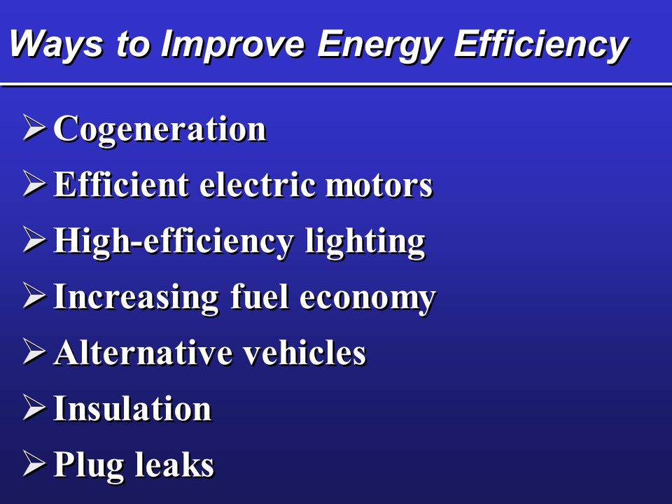 Ways to Improve Energy Efficiency  Cogeneration  Efficient electric motors  High-efficiency lighting  Increasing fuel economy  Alternative vehicles  Insulation  Plug leaks
