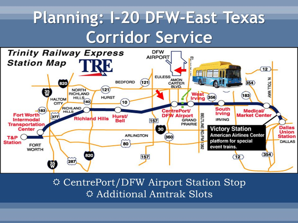 Planning: I-20 DFW-East Texas Corridor Service  CentrePort/DFW Airport Station Stop  Additional Amtrak Slots