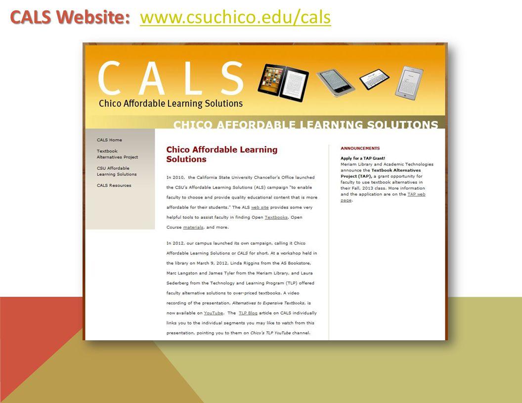 CALS Website: CALS Website: www.csuchico.edu/calswww.csuchico.edu/cals