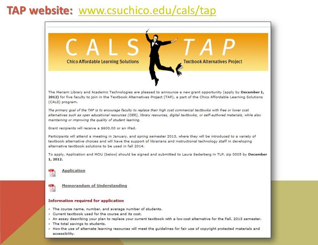 TAP website: TAP website: www.csuchico.edu/cals/tapwww.csuchico.edu/cals/tap
