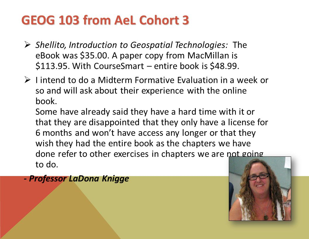 GEOG 103 from AeL Cohort 3  Shellito, Introduction to Geospatial Technologies: The eBook was $35.00.